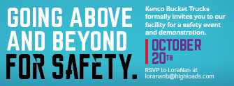 Going above and beyond for safety. Kenco Bucket Trucks formally invites you to our facility for a safety event and demonstration. October 20th. RSVP to LoraNan at lorananb@highloads.com