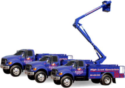 Purple Kenco bucket trucks
