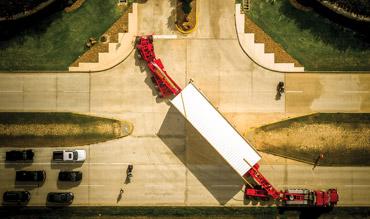 Aerial view of Bucket Truck Escort