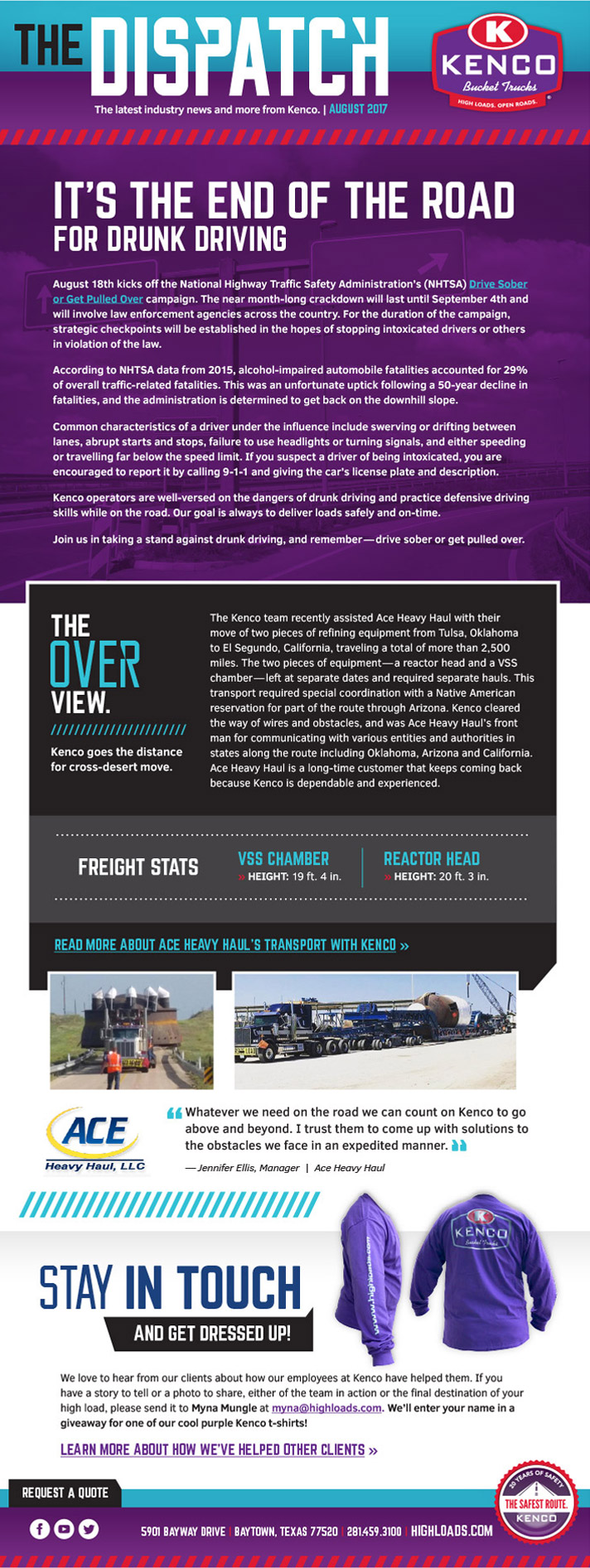 Kenco Bucket Trucks August eNews 2017