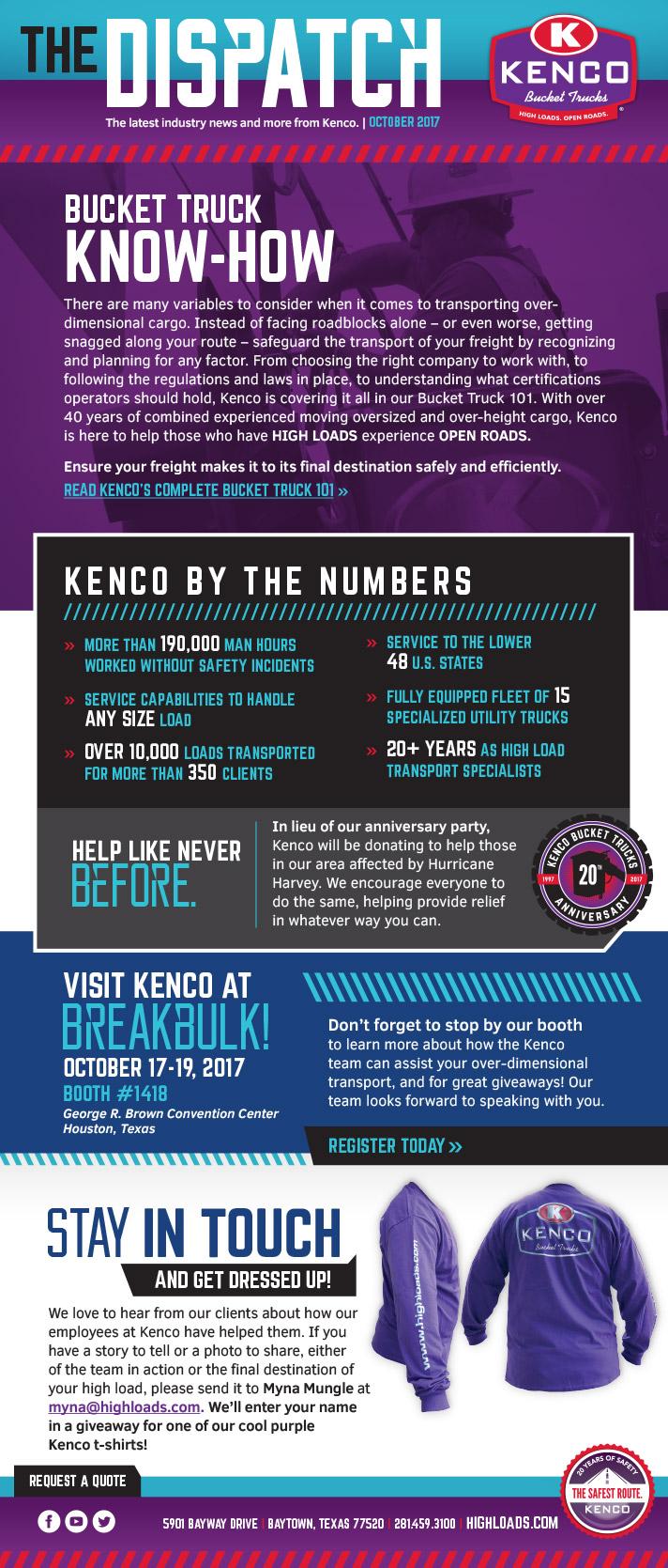 Kenco Bucket Trucks October eNews 2017